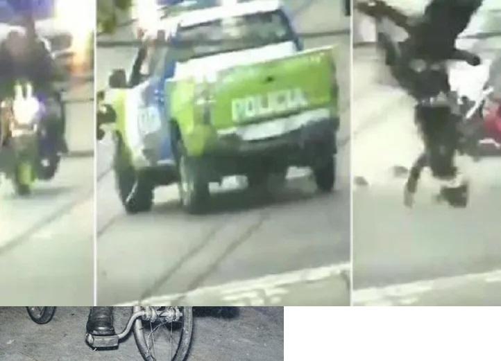 Tremendo choque entre motochorro y la policía